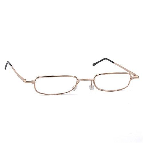 Men Women Full Frame Rim Reading Glasses Eyeglasses Eyewear + Travel Slim Aluminum Pen Clip Tube Case (+4.00, Gold)