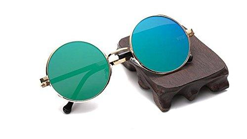 en style vintage soleil inspirées polarisées rond Vert de métallique lunettes retro Lennon du Film cercle RXwqpzxxn0