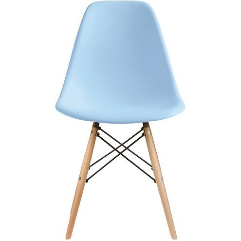 2xhome Set of 2 Blue Mid Century Modern Contemporary Vintage Molded Shell Designer Side Plastic Eiffel Chairs Wood Legs for Dining Room Living Conference DSW Desk Kitchen Comfortable