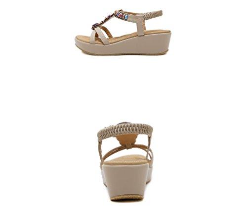 Sandals Sandali in Ms LIANGXIE ZHHZZ New zeppa unita con tinta elastici elastici Summer zeppe Albicocca rilievo con Sandali qt1wRwAIx