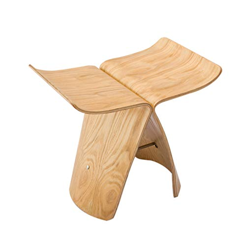 (AGLZWY Low Stool Butterfly Stool Fashion Simple Wooden Bench,4 Colors (Color : Black, Size : 44X31X40CM))