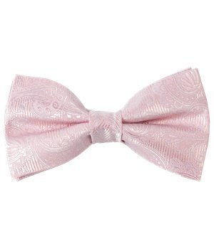 Twill Clip (The Tie Bar Twill Paisley 100% Woven Silk Blush Pink Self-Tie Bow Tie)