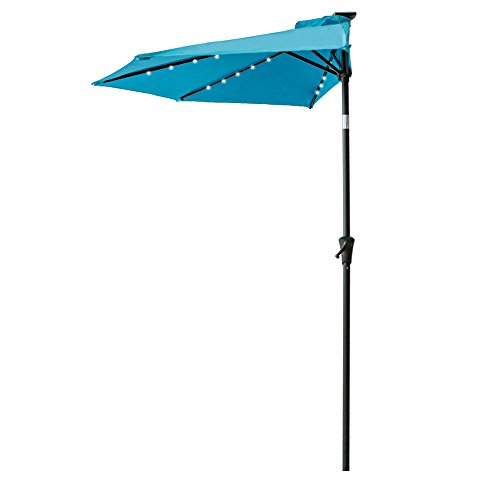 FLAME&SHADE 9' LED Half Outdoor Patio Market Umbrella with Solar Lights and Tilt for Outside Deck Terrace or Balcony Shade, Aqua Blue (Ideas Outdoor Small Patio Apartment)