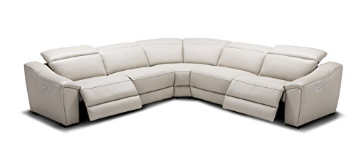 J And M Furniture 187752 SG Nova Silver Grey Motion Sectional Power  Reclining Leather