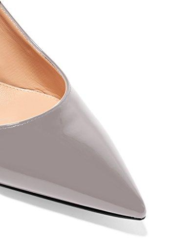 Eldof Womens Patent Leather Pointed Toe Slingback Ankle Strap Kitten Heels Pumps Evening Stiletto Shoes/6.5cm Gray fdnBk3i8