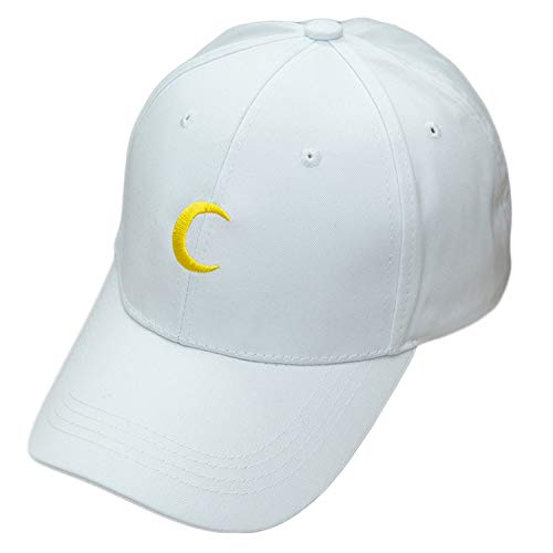 New Sailor Moon Crescent Dad Hat Embroidered Baseball Cap Harajuku Soft Sister Moon Wholesale Snapback Caps Sun Hat Lovers,White ()