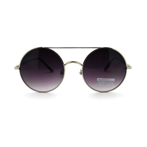 Retro Circle Round Wire Rim Flat Top Double Bridge Lennon Sunglasses Silver - Wire Glasses Thin Rim