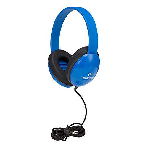 Egghead Heavy-Duty Kids' Headphones w/Tangle-Free Fabric Cord (Pack of 10) Blue