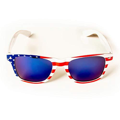 Classic Retro Wayfarer Non Polarized Sunglasses 80s Casual UV400 (American Flag, -