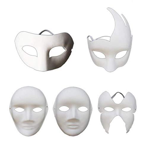 VPlus 5 Pcs Blank Mask diy Hand Paint Halloween Dance Party Cosplay Bar Theme Party Props