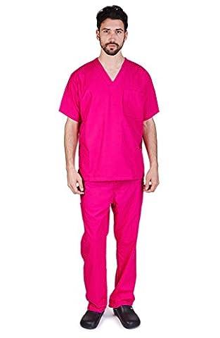 NATURAL UNIFORMS Men's Scrub Set Medical Scrub Top and Pants XXL Hot Pink - Hot Pink Scrub Pants