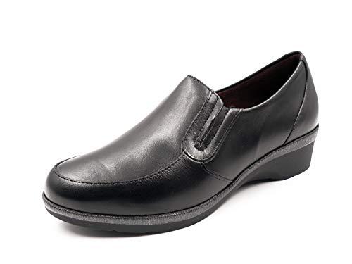 En 587 Pitillos 3cm Tipo Cómodo Mujer Mocasín Cuña Piel Zapato 5217 Negro Color Negro qA1XSx