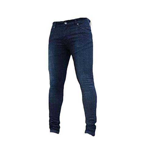 Basic Aderenti Stile Elasticizzati Stretch Semplice Jeans Pantaloni Dritti Uomo Dunkelblau Slim Lanceyy awU0qn