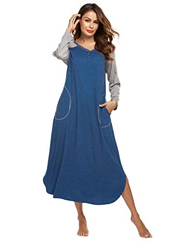 Ekouaer Long Nightgown,Women's Loungewear Short Sleeve Sleepwear Full Length Sleep Shirt with Pockets