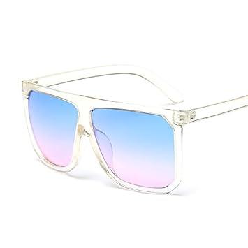 YAzNdom Gafas de Sol de protección UV, Gafas de Sol cuadradas Grandes Gafas de gradiente de Gafas de Sol de Cara Redondas Europeas y estadounidenses ...