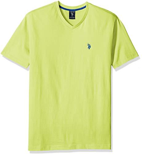 (U.S. Polo Assn. Men's V-Neck T-Shirt, Green Madras, XL)