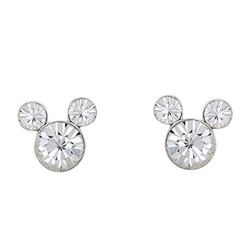 Disney Silver Plate Mickey Mouse Crystal Birthstone Stud Earrings (April Clear Crystal)