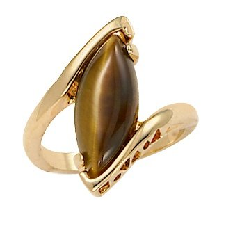 14K Yellow Gold-plated Marquise Shaped Genuine Brown Tiger's Eye Ring Size (14k Tigers Eye Ring)