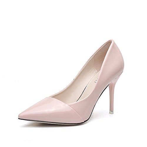 honor de dama femeninos Zapatos alto Nuevos trabajo 9cm tacón alto zapatos primavera Jqdyl Zapatos Zapatos de puntiagudos de tacón Tacones de Pink de de awPx6q6Tn4