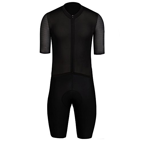 SPEXCEL Short Sleeve Cycling Skinsuit Pro Team Bicycle Suit With High Density Pad Full Black With Reflective Stripe - Sleeve Short Skinsuit