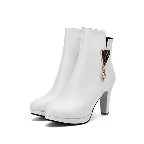 Toe top AmoonyFashion Round High Closed Solid Material Heels White Low Soft Women's Boots qFzrF6xt