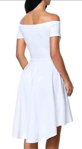 Shoulder Dress Prom Low High Jaycargogo Women Short Skater Off White Party Swing Fashion Sleeve Dress xqtRR7vw
