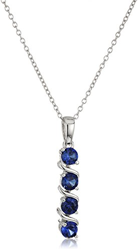 Sterling Silver Created Blue Sapphire Four Stone Pendant Necklace, 18