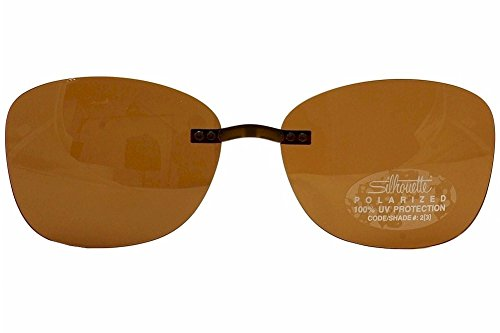 Silhouette Titan Accent 5076 4497 Brown Polarized Clip-On Sunglasses - Clip Glasses On Sunglasses Silhouette