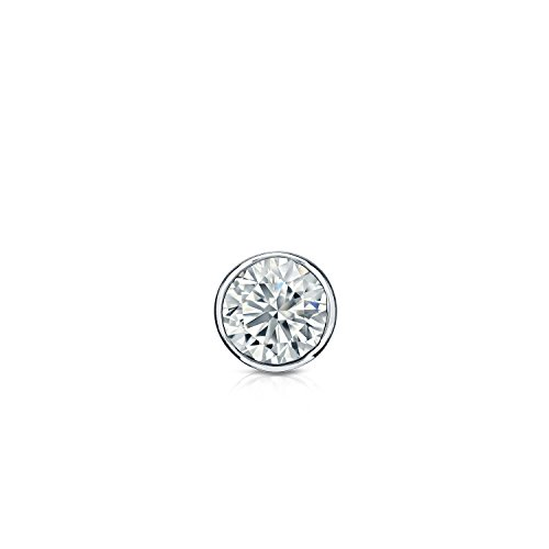 Diamond Wish 14k White Gold Round Single Diamond Stud Earring (1/8cttw, O.White, I2-I3) Bezel-Set, Secure Lock Back ()