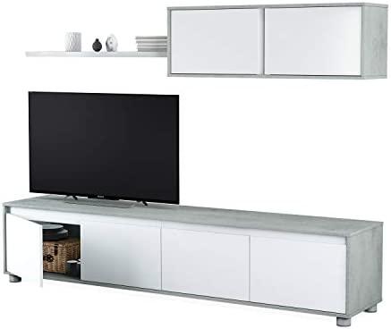 Habitdesign 016663L - Mueble de salón Moderno, modulos Comedor Alida, Medidas: 43 cm de Altura x 200 cm de Ancho x 41 cm de Fondo (Blanco Artik y Gris ...
