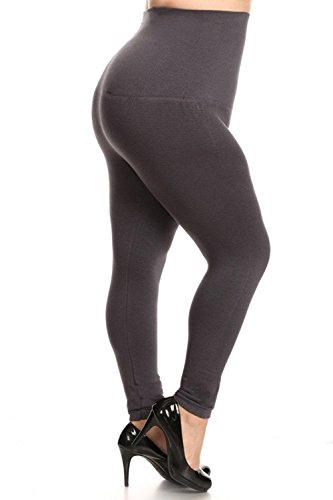 (Yelete Legwear High Waist Compression Leggings with French Terry Lining, Plus Size,)