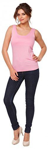 Happy Mama. Mujer top camiseta sin mangas premamá y lactancia doble capa. 982p Polvo de Color Rosa