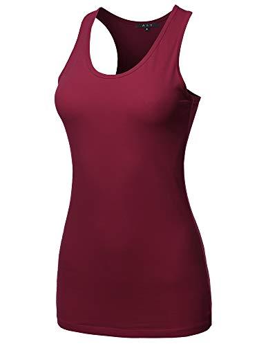 A2Y Women's Basic Solid Soft Cotton Scoop Neck Racer-Back Tank Top Cabernet M ()