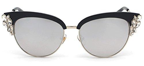 I'M KING Bling Rhinestone Jewel Cat Eye Sunglasses Half Rim Mirrored Eyewear (Black, White - Sunglasses Eye Bling Cat