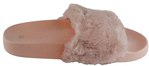 Cambridge Select Femmes Slip-on En Fausse Fourrure Plateforme Plate Slipper Slide Sandale Rose / Rose