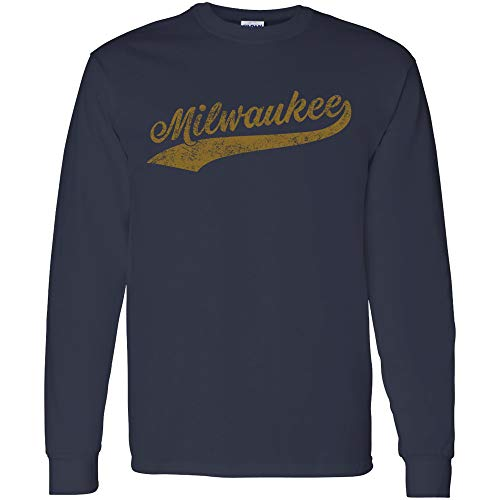 Milwaukee Baseball Script - Hometown Pride, Pitcher Long Sleeve T Shirt - 2X-Large - Navy
