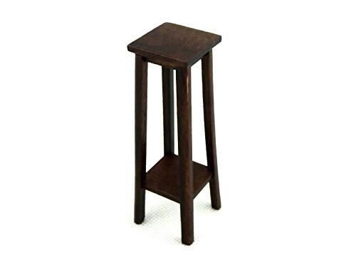 Dollhouse Pedestal - Melody Jane Dolls Houses Dark Oak Fern Stand Plant Pedestal Large Miniature Furniture 1:12