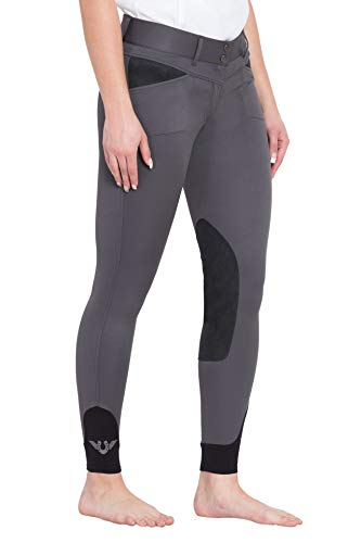 Sport Knee Patch Breeches - TuffRider Women's Sydney Knee Patch Breeches with Contoured Sock Bottom, Charcoal, 26