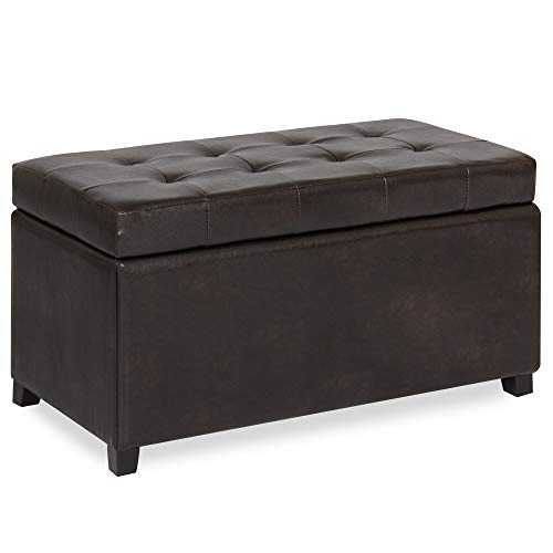 - Best Choice Products Tufted Leather Storage Ottoman Bench Footrest for Home, Living Room w/Lift Open Lid, Child Safety Hinge, and 440lb Capacity - Brown