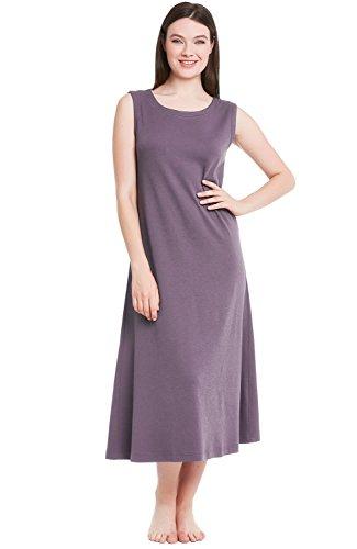 Alexander Del Rossa Womens Cotton Knit Nightgown, Long Sleeveless Sleep Dress, Small Pebble (A0404PBLSM)