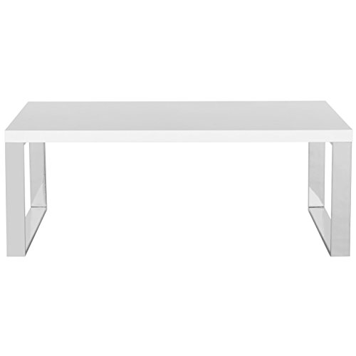 Safavieh Home Collection Rockford White and Chrome Coffee Table