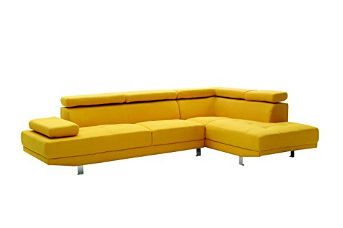 Glory Furniture Tufted Design Milan Sectional Sofa, Yellow