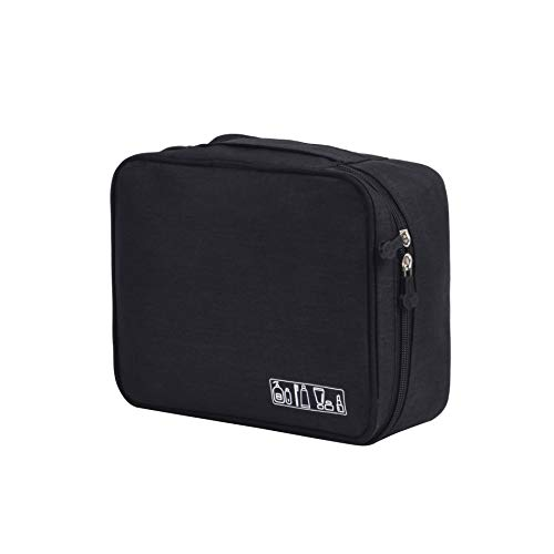HOYOFO Multi-functional Cosmetic Bags Travel Toiletry Bag Waterproof Square Make Up Bag Organizer,Black ()