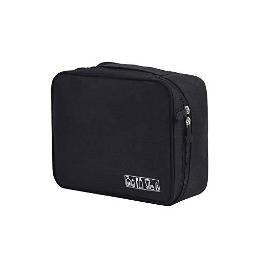 (HOYOFO Multi-functional Cosmetic Bags Travel Toiletry Bag Waterproof Square Make Up Bag Organizer,Black)