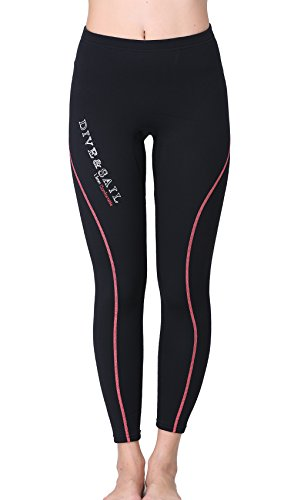 DIVE & SAIL Wetsuit Pants 1.5mm Women Neoprene Pants For Kayaking Surfing Snorkeling Padding (Red&Black, - Size Chart Womens Wetsuit
