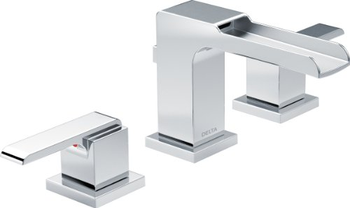 Delta Faucet Ara 2-Handle Widespread Bathroom Faucet with Metal Drain Assembly, Chrome 3568LF-MPU (Delta Cassidy Double Handle Widespread Bathroom Faucet)