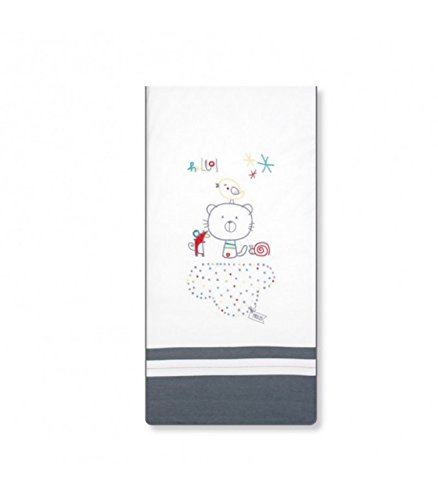 pirulos 27713510Steppdecke, Nestchen und Kissen, Motiv Be Happy, 72x 142cm, weiß und grau