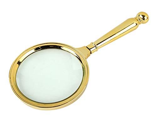 (Bangbuy Large Imitation Metal Magnifying Glasses 5X Handheld Magnifier Reading Glass, Gold)