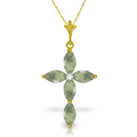 "14K 24"" Yellow Gold Genuine Diamond & Green Amethyst Cross Pendant Necklace"