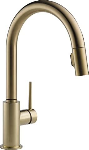Delta Faucet 9159-CZ-DST Trinsic Single Handle Pull-Down Kitchen Faucet with Magnetic Docking, Champagne (Pulldown Faucet Delta)